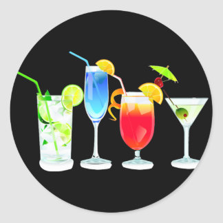 Four Cocktails Round Sticker