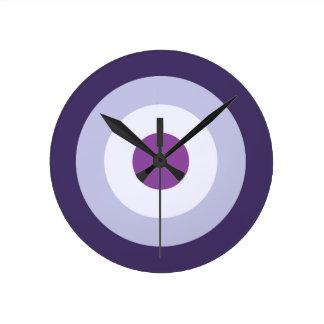 Four Color Combo - Blue Violet Purple Lavender Round Clock