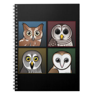 Four Color Owls (dark) Note Book