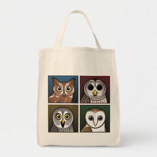 Four Color Owls (dark) Tote Bag
