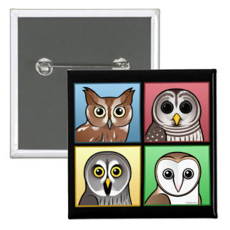 Four Color Owls (pastel) Pins