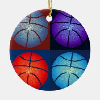 Four Color Pop Art Basketball Christmas Tree Ornament