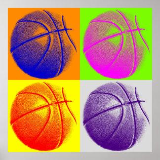 Four Color Pop Art Basketball Retro Style Poster