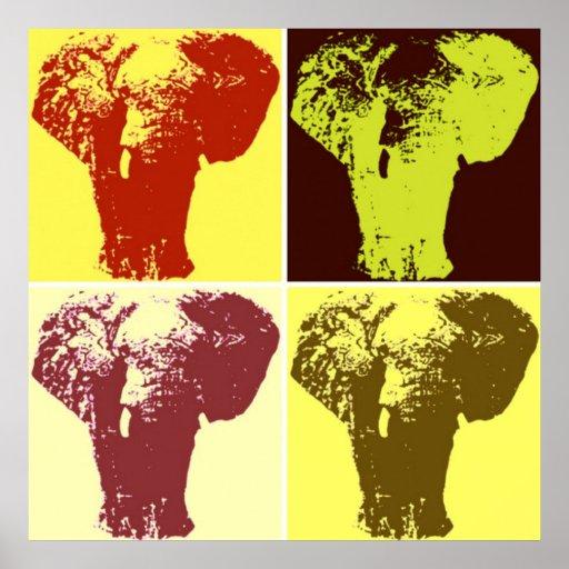 Four Color Pop Art Elephants Retro Style Poster Print