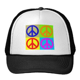 Four Color Pop Art Peace Sign Cap