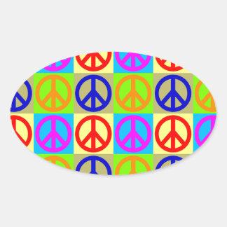 Four Color Pop Art Peace Sign Oval Sticker
