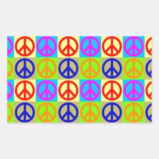 Four Color Pop Art Peace Sign Rectangular Sticker