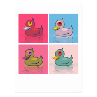 Four Colorful Ducks Postcard