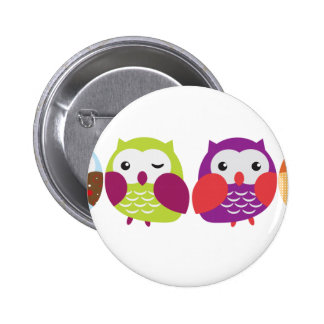 Four Colorful Owls Pinback Buttons