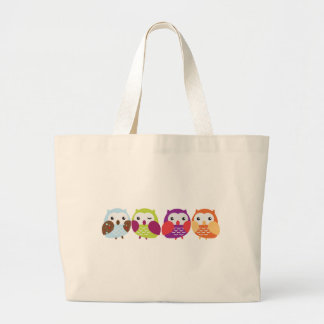 Four Colorful Owls Large Tote Bag