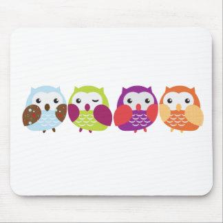 Four Colorful Owls Mousepads