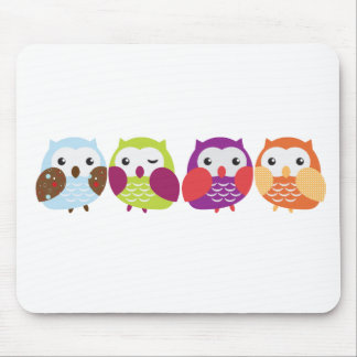 Four Colorful Owls Mousepads