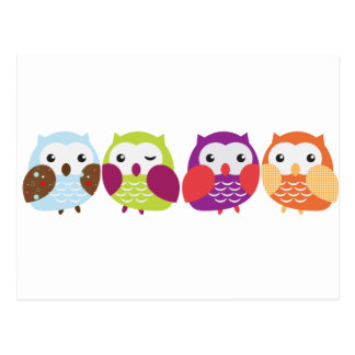 Four Colorful Owls Post Card