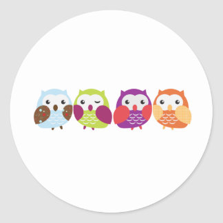 Four Colorful Owls Round Stickers