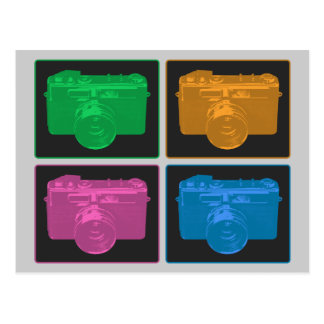 Four Colorful Retro Cameras Postcards