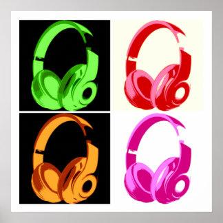 Four Colors Headphone Pop Art Poster