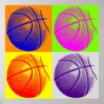 Four Colour Pop Art Basketball Retro Style Poster