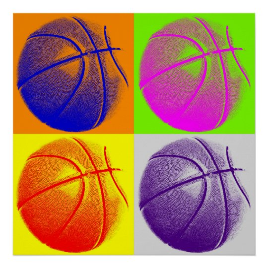 Four Colour Pop Art Basketball Retro Style Poster