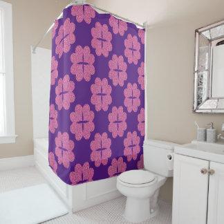 Four colourful flowers heart shower curtain