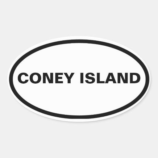 FOUR Coney Island Oval Stickers