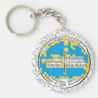 Four Corners Four States Basic Round Button Key Ring