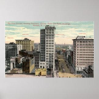 Four Corners, Newark, NJ c1915 Vintage Poster