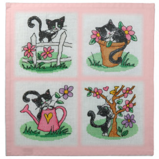 Four cute kittens cross stitch embroidery napkin