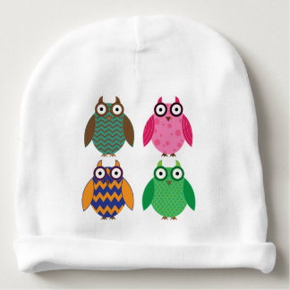 Four Cute Owls Baby Beanie