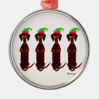 Four Dachshunds Christmas Ornament