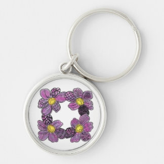 Four Dahlias or African Violets in Pink and Purple Silver-Colored Round Key Ring