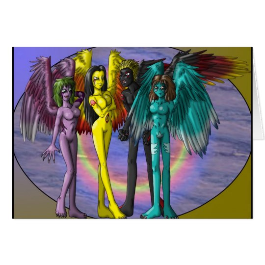 Four Demons Greetings card