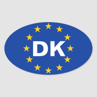 "FOUR Denmark ""DK"" European Union Flag Oval Sticker"