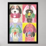 Four dogs kids room pop art poster