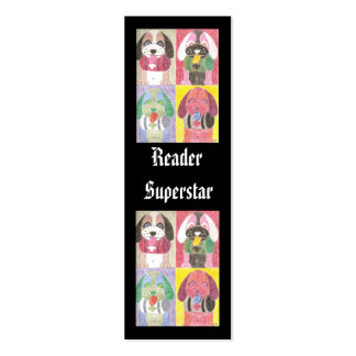 Four dogs, (Reader Superstar) mini bookmarks Double-Sided Mini Business Cards (Pack Of 20)