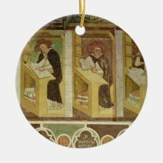 Four Dominican Monks at their Desks, from the cycl Round Ceramic Decoration