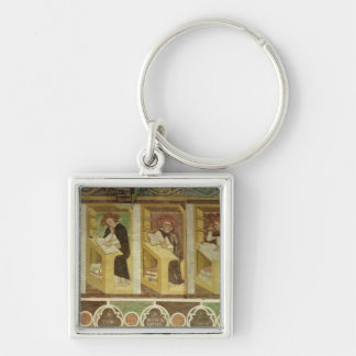 Four Dominican Monks at their Desks, from the cycl Silver-Colored Square Key Ring