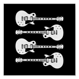 Four Electric Guitars in Black & White Poster