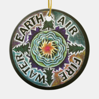 Four Elements Sun Mandala Christmas Ornament