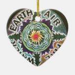 Four Elements Sun Mandala Double-Sided Heart Ceramic Christmas Ornament