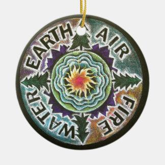 Four Elements Sun Mandala Round Ceramic Decoration
