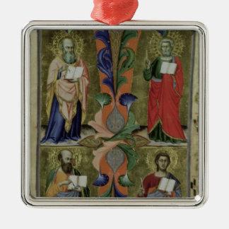 Four Evangelists, 14th century (vellum) Silver-Colored Square Decoration