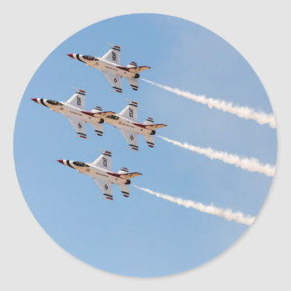 Four F-16 Thunderbirds fly in close formation Classic Round Sticker