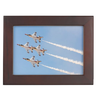 Four F-16 Thunderbirds fly in close formation Keepsake Box