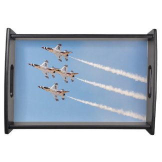 Four F-16 Thunderbirds fly in close formation Serving Tray
