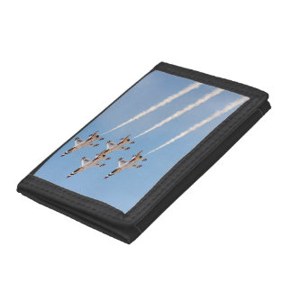 Four F-16 Thunderbirds fly in close formation Trifold Wallet