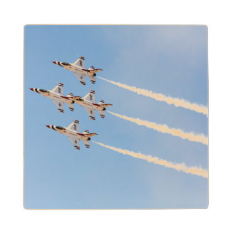 Four F-16 Thunderbirds fly in close formation Wood Coaster