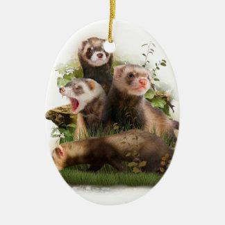 Four Ferrets in Their Wild Habitat Ceramic Oval Decoration