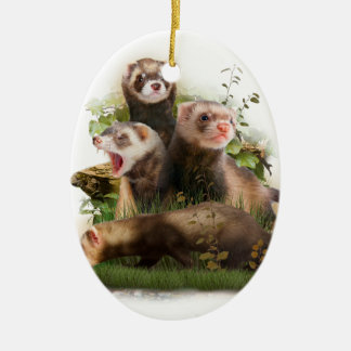 Four Ferrets in Their Wild Habitat Christmas Ornament