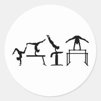 Four fight Quadrathlon Gymnastics Classic Round Sticker