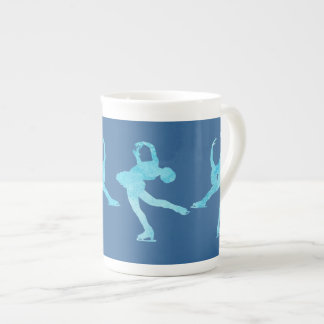 Four Figure Skaters in Cool Blue Bone China Mug